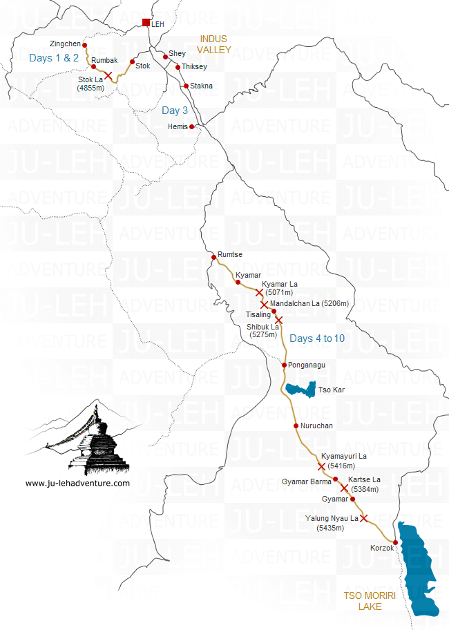 Rumtse to Tso Moriri trek map