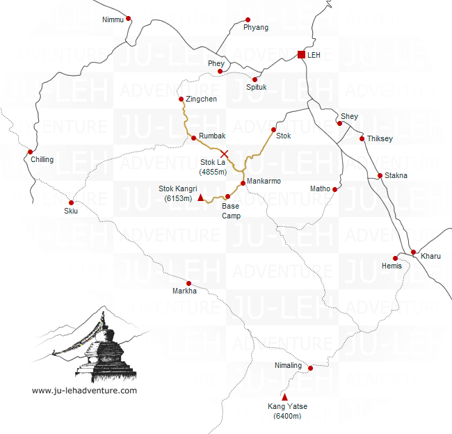 Stok Kangri climb, trek from Zingchen map