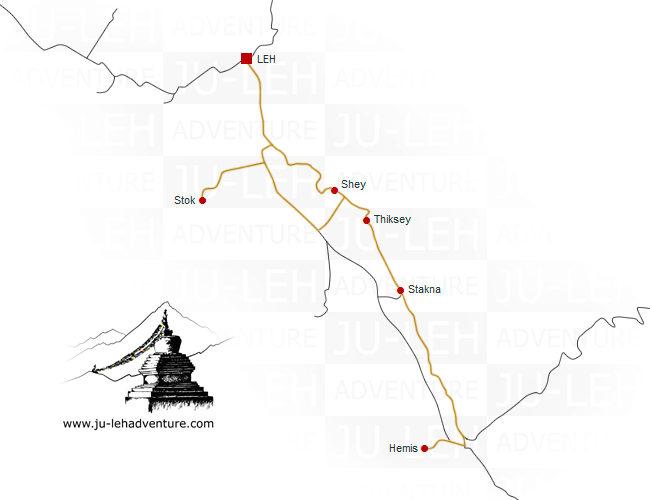 Indus Valley to Hemis - cultural tour - map