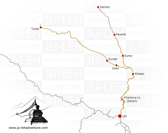 Nubra Valley - cultural tour - map