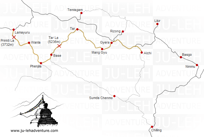 Lamayuru to Alchi trek via Tar La map