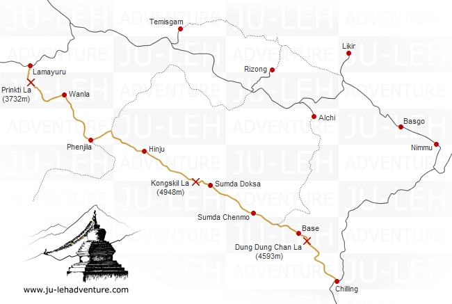 Lamayuru to Chilling trek map