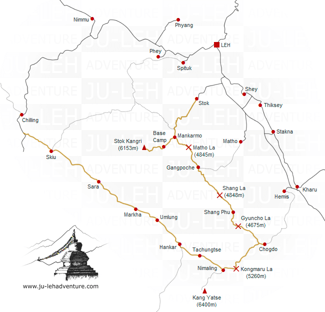 trek de la vallée de la Markha & ascension du Stok Kangri, carte