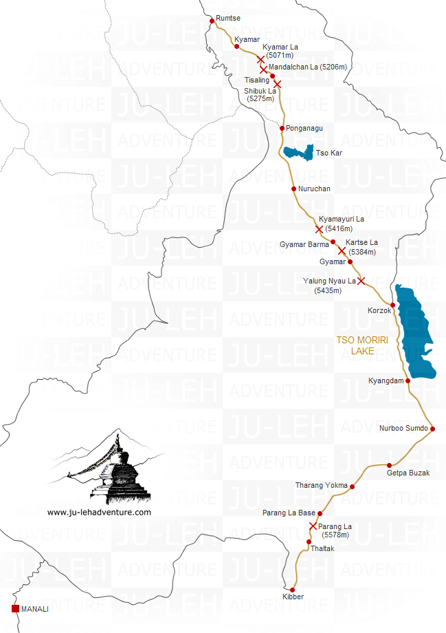 Rumtse to Kibber trek via Tso Moriri lake map