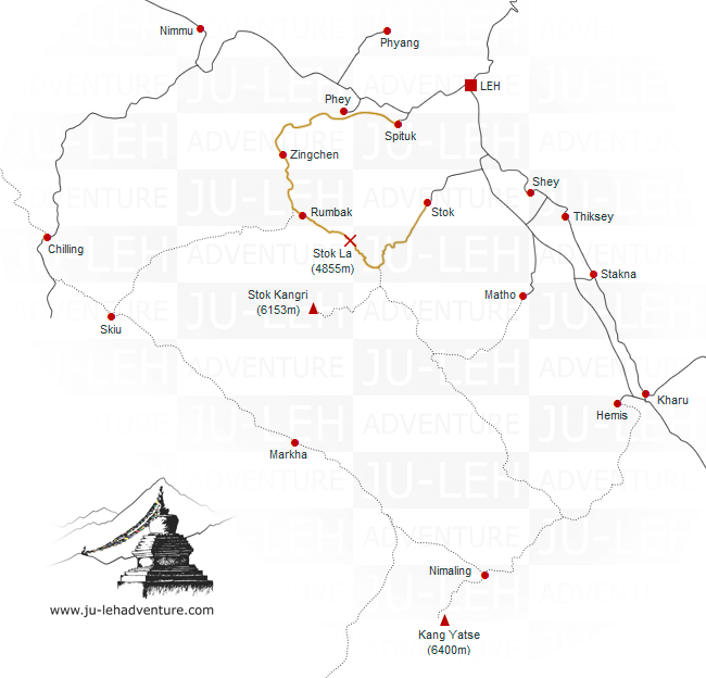 Spituk to Stok trek map