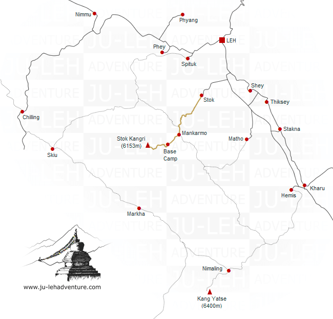 ascension du Stok Kangri, carte