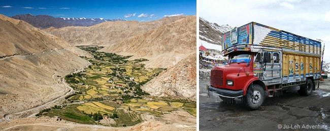 Chang La pass in Ladakh, truck
