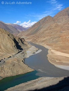 Confluence of Indus & Zanskar Rivers in Ladakh